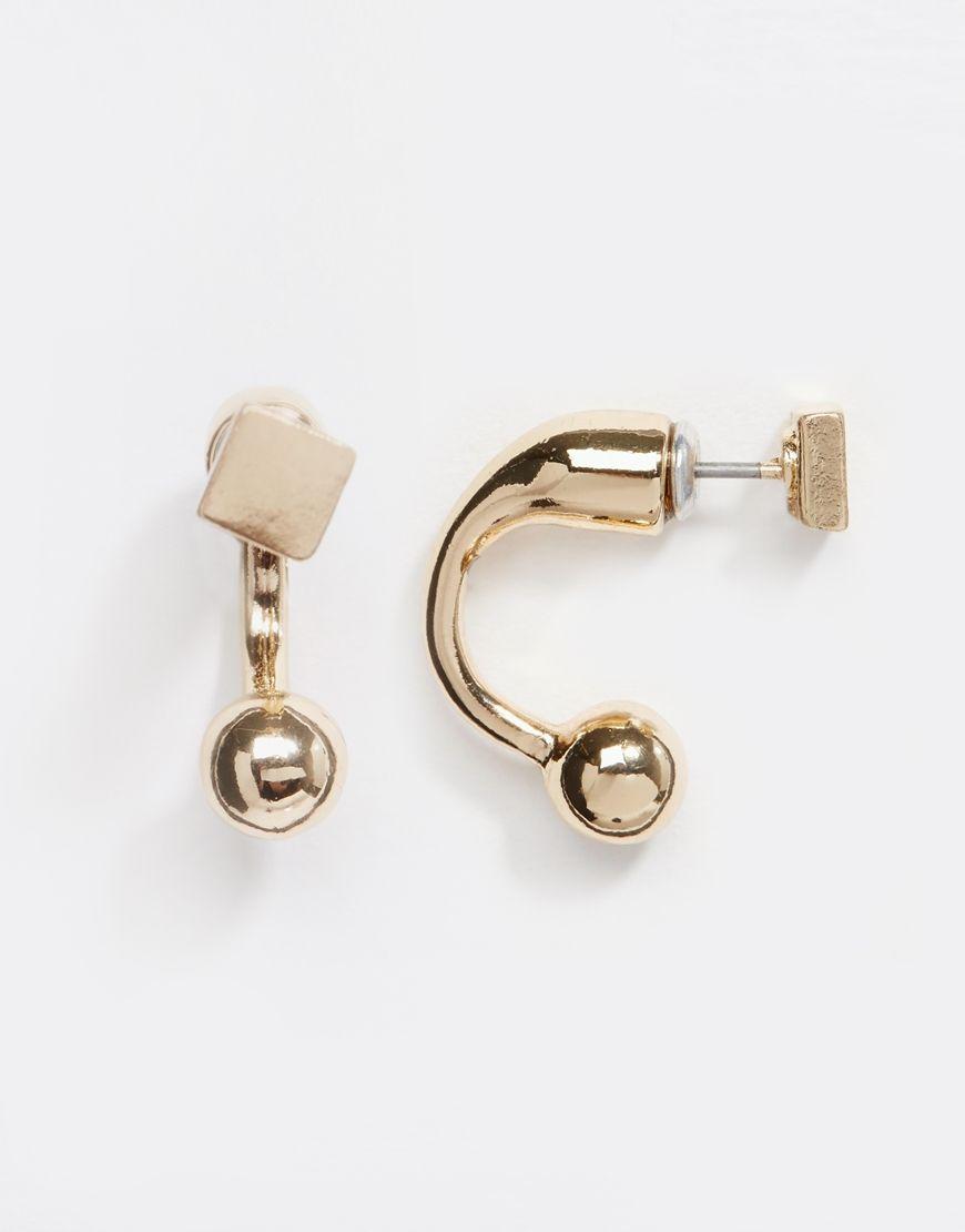 Ohrschmuck von ASOS goldfarben Kreolen mit Kugelenden Steckverschluss hinten 80% Zink, 20% Stahl