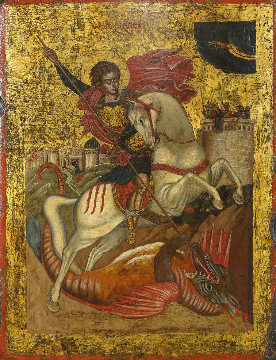 Saint George and the Dragon   Greek, Ionian Islands School   Mid 17th century   Tempera and gold on gesso and wood   Panel: 42.5 x 32.5 cm