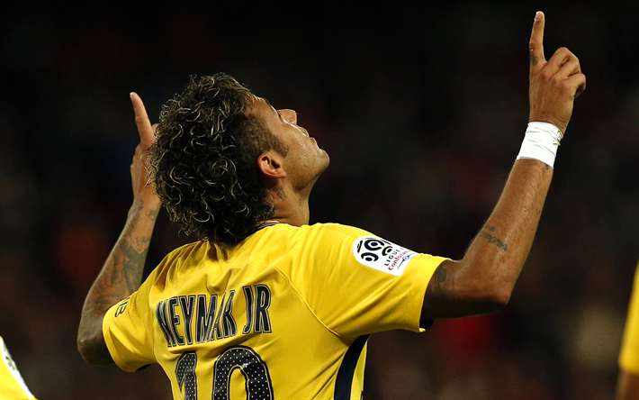 Download wallpapers 4k, Neymar, goal, PSG, soccer