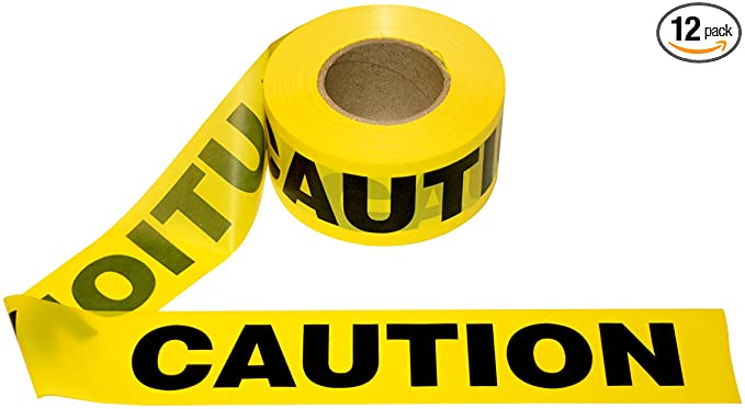Amazon Com Cordova Safety Products Pro Pack Caution Barricade Tape Set Of 12 Rolls Each Roll Measures 3 X 1000 Yellow T15101 Tape Safety Tape Packing