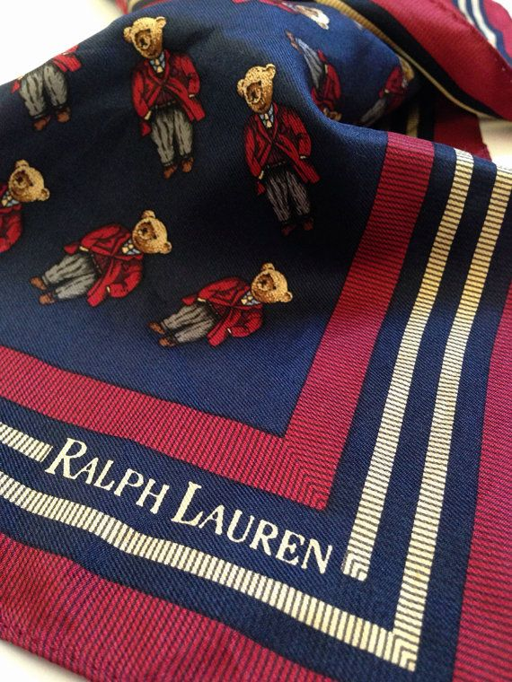 8731a8524 Rare Ralph Lauren Polo Bear Silk Scarf in 2019 | Polo | Fashion ...