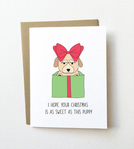 It Christmas Merr Christmas.Dog Christmas Card Puppy Christmas Card Cute Christmas