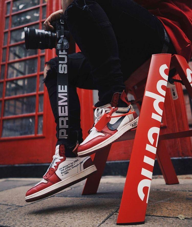 Off White Jordan 1 Supreme Hypedrock Sneakers Men Fashion