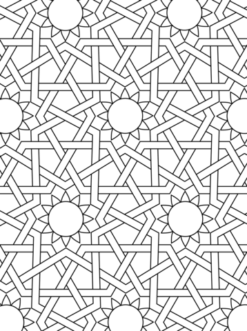 Islamic Ornament Mosaic Coloring Page From Mosaic Category