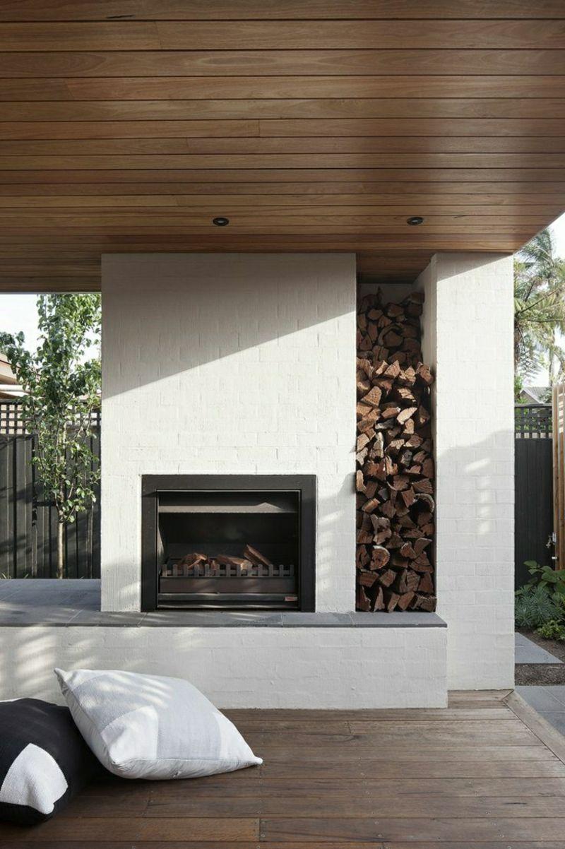 Gartenkamin Modern Eingebaut Mit Brennholzfach