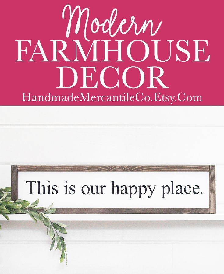 This is Our Happy Place Sign, Living Room Wall Decor, Long Skinny Sign, Modern Farmhouse Decor, Framed Wood Signs, Rustic Wood Sign, 25 x6  is part of Mantle decor Bedroom - HandmadeMercantileCo ref l2shopheadername