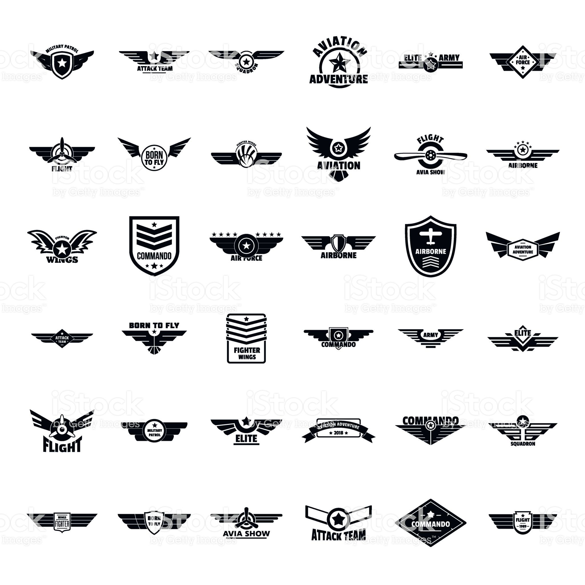 Airforce Army Badge Logo Icons Set Simple Style Stock