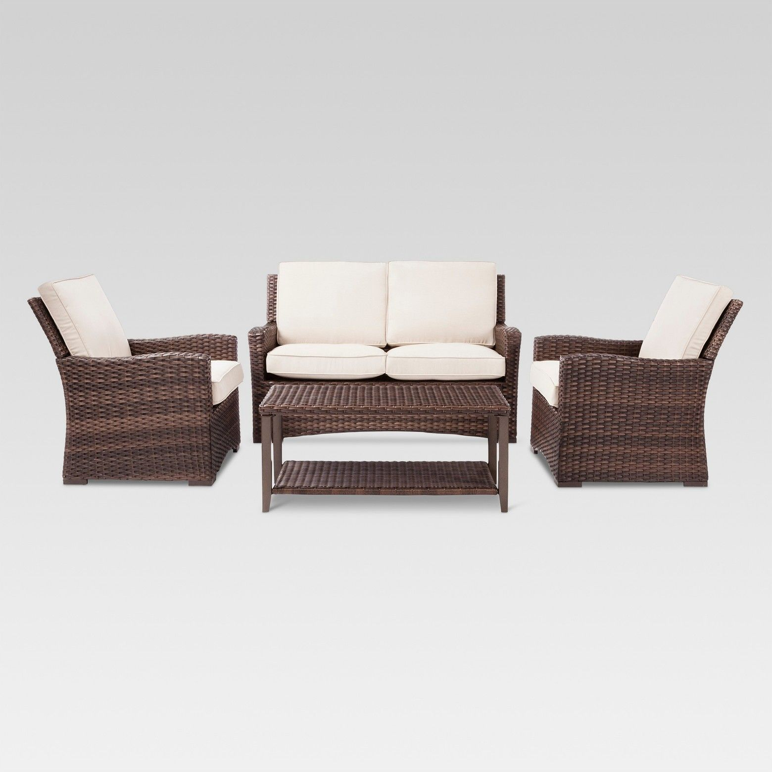 Step up your outdoor decor game with the Halsted 4pc Wicker Patio