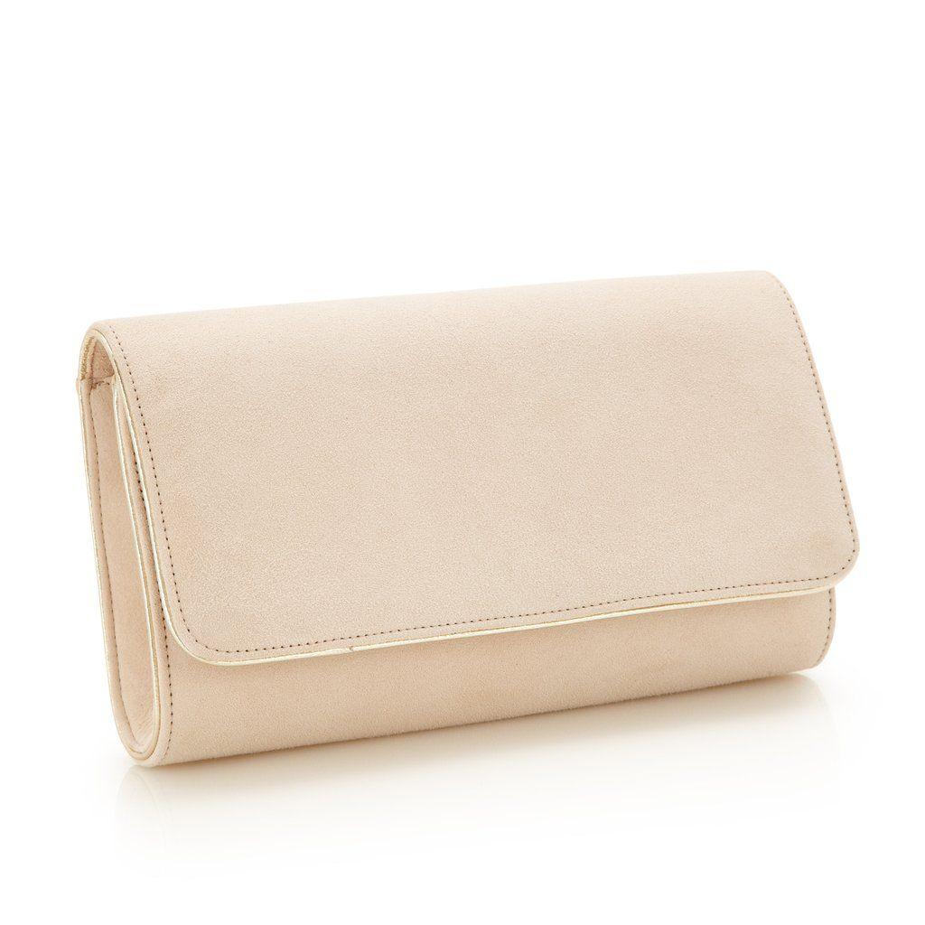 40fc12b5d82eb Emmy London Natasha Blush - Bridal Accessories - Blush Kid Suede - Clutch -  Bag - Gold Leather Trim