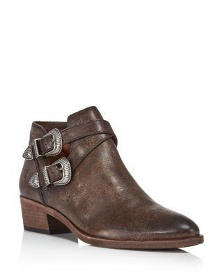 Frye Women's Lena Almond Toe Leather Western Booties
