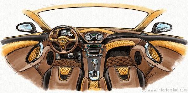 Custom Car Interior Design Sketch