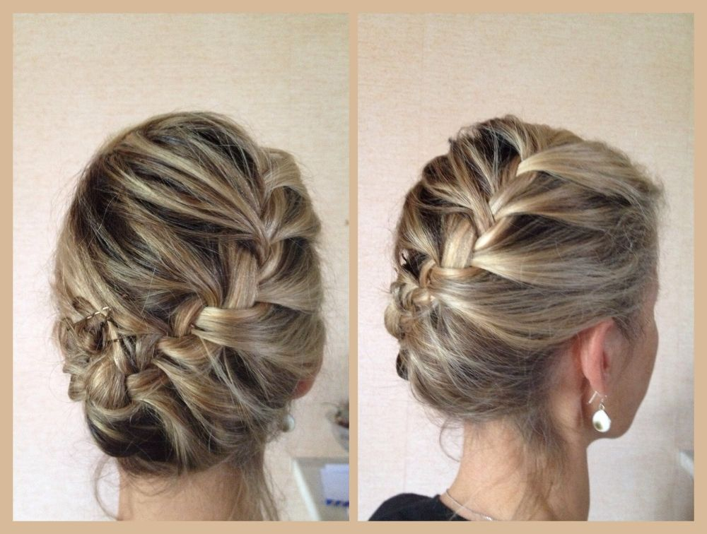 Tresse africaine en diagonale finie en chignon, cheveux