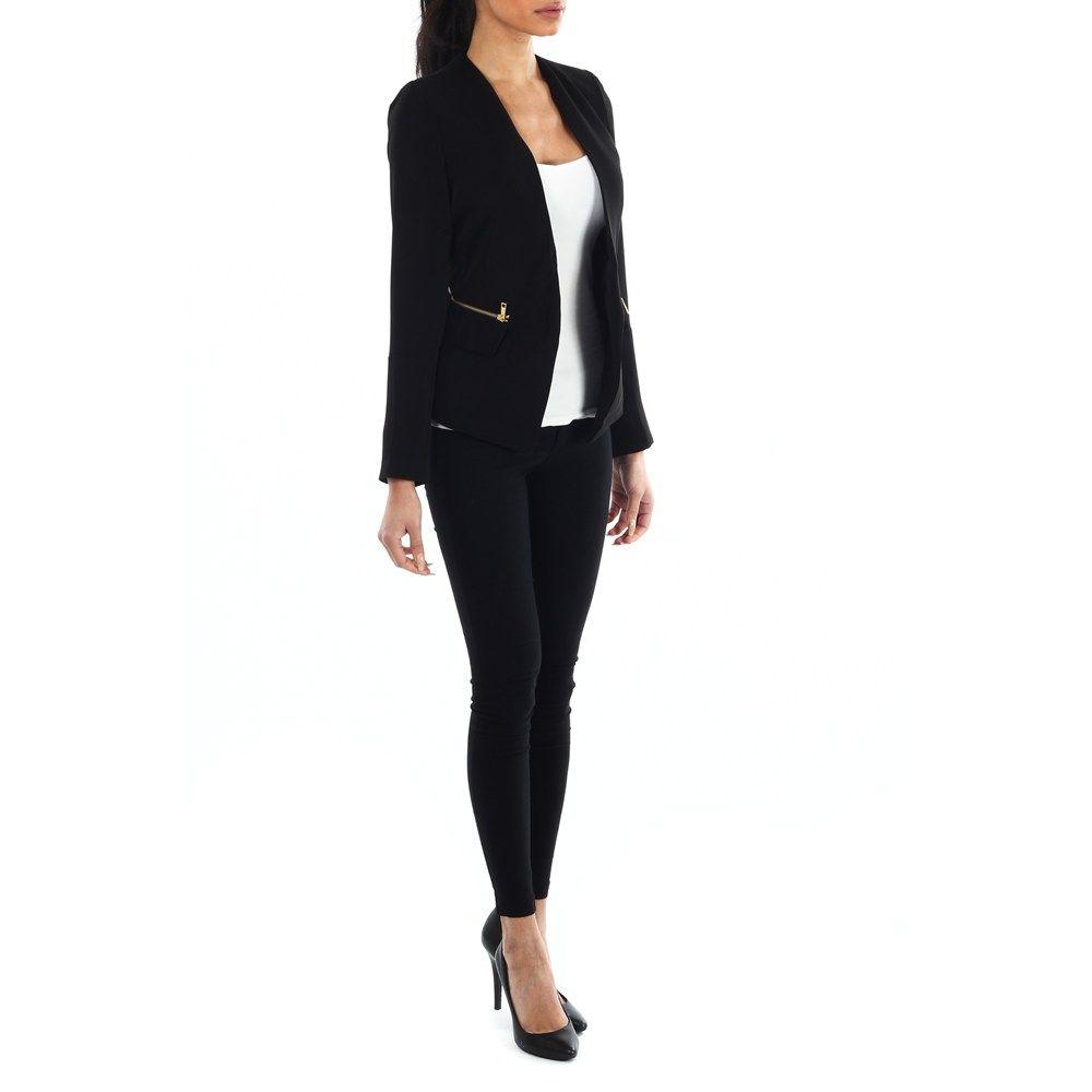 Sort Farrell Gold Zip Jacket fra Kouture - Blazer