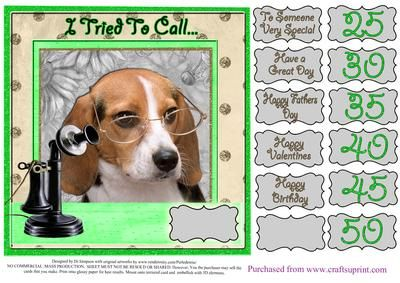 I Tried To call Doggy card for lots of occasions 5 on Craftsuprint - Add To Basket!