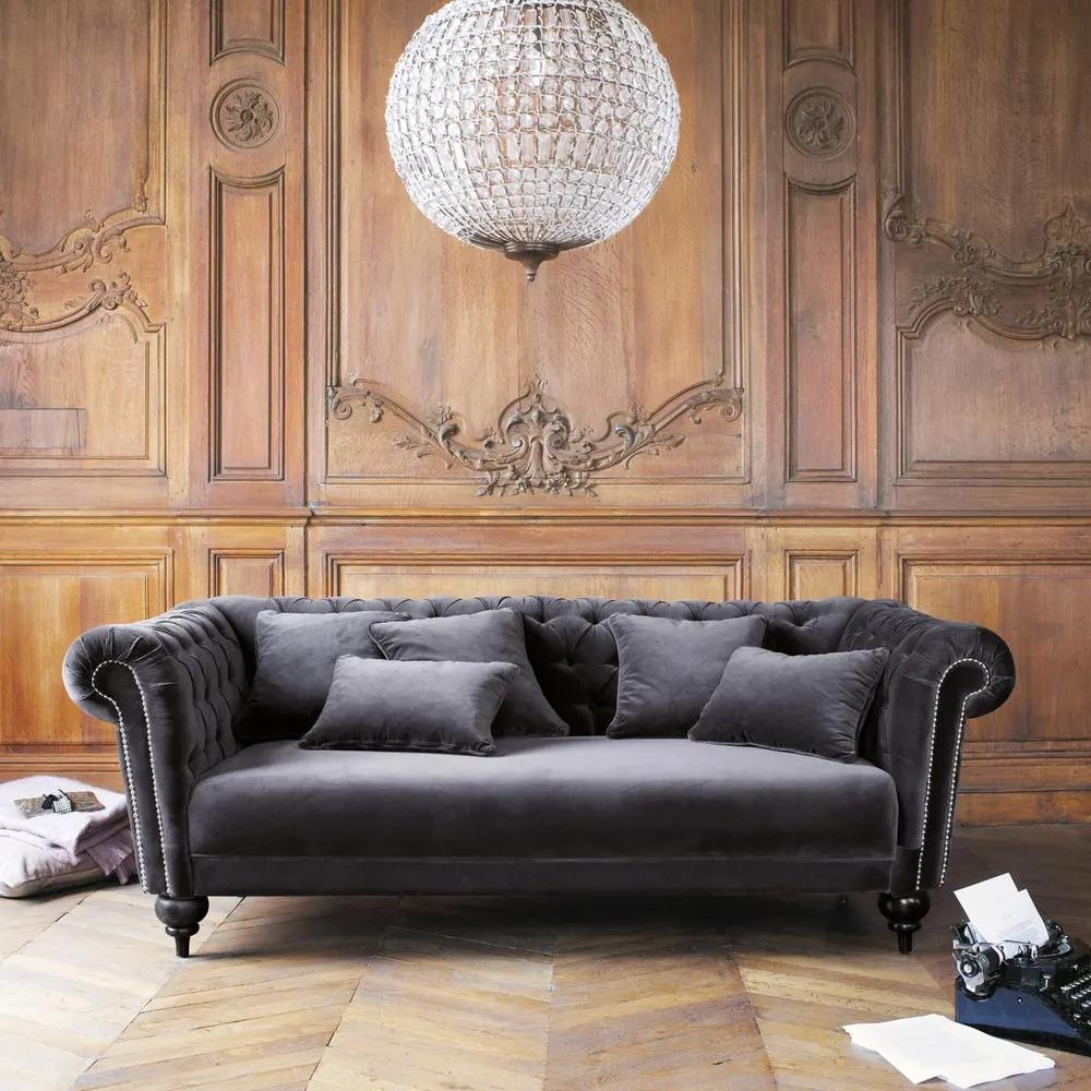 Divano In Velluto Grigio 3 Posti Sofa Scandinavian Style
