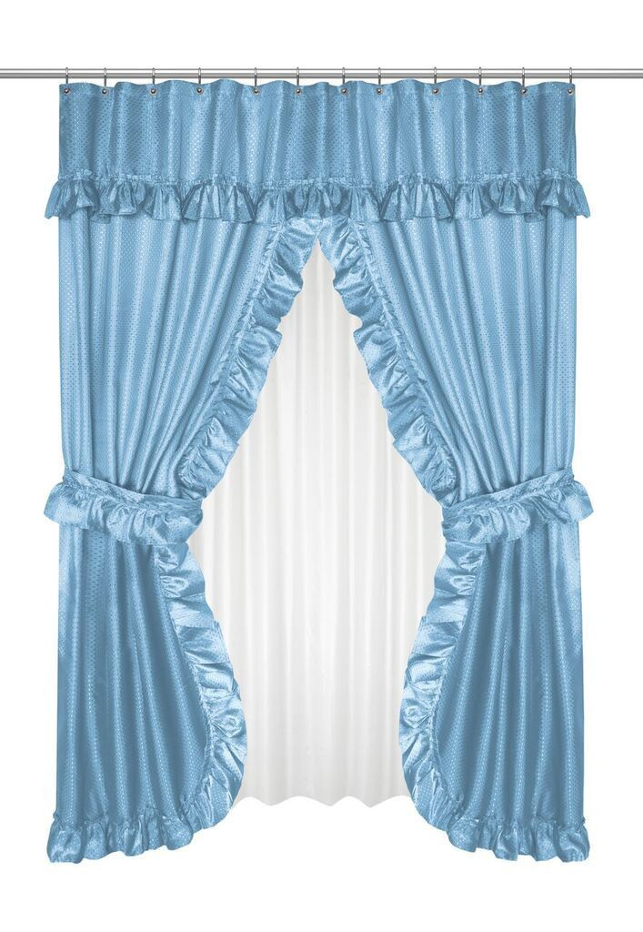 Ruffled Double Swag Shower Curtain with Valance & Tie Backs, Light