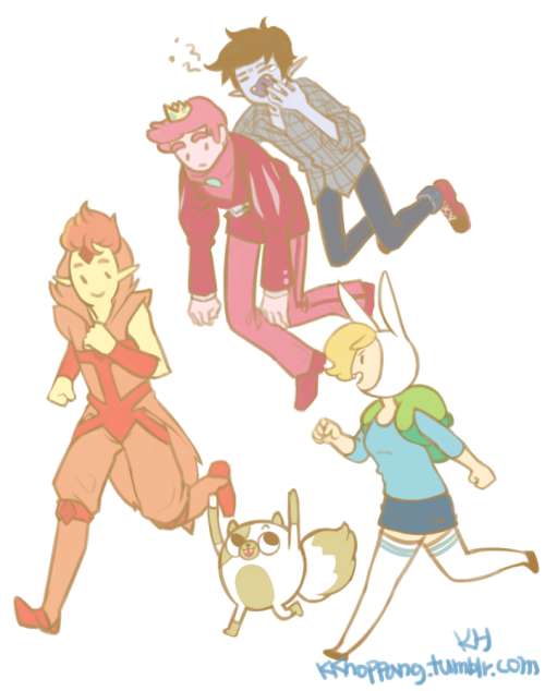 Fionna and marshal lee and gumball and flame prince