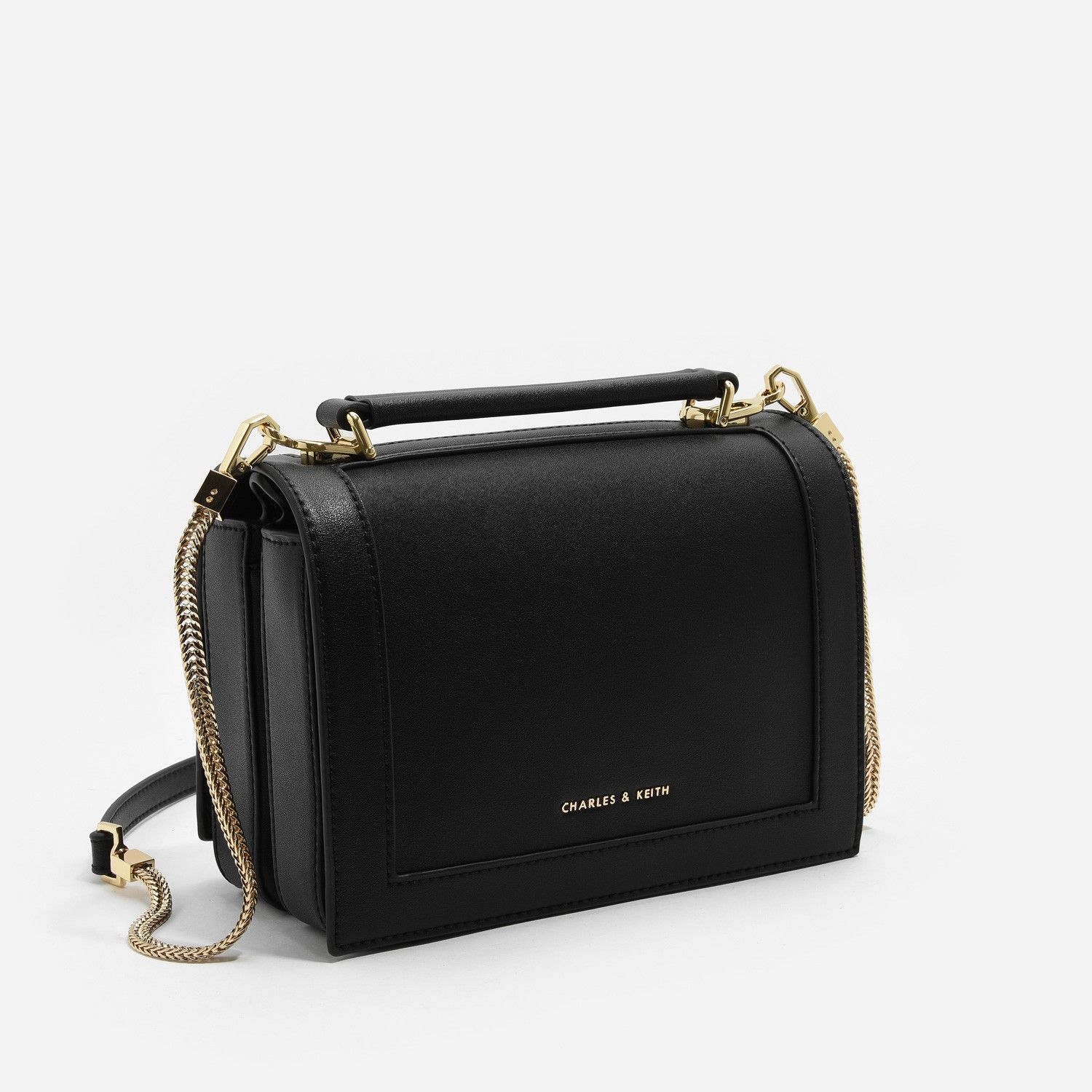5bdab4c4d8f8 Black Front Flap Top Handle Sling Bag | CHARLES & KEITH | Bags ...