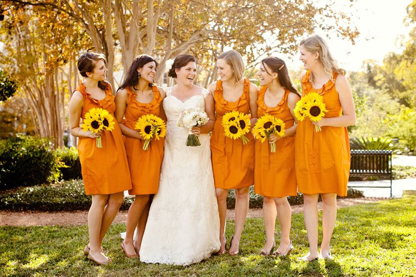 12 fall wedding colors burnt orange sunflowers bridesmaid - Fall Colors For A Wedding