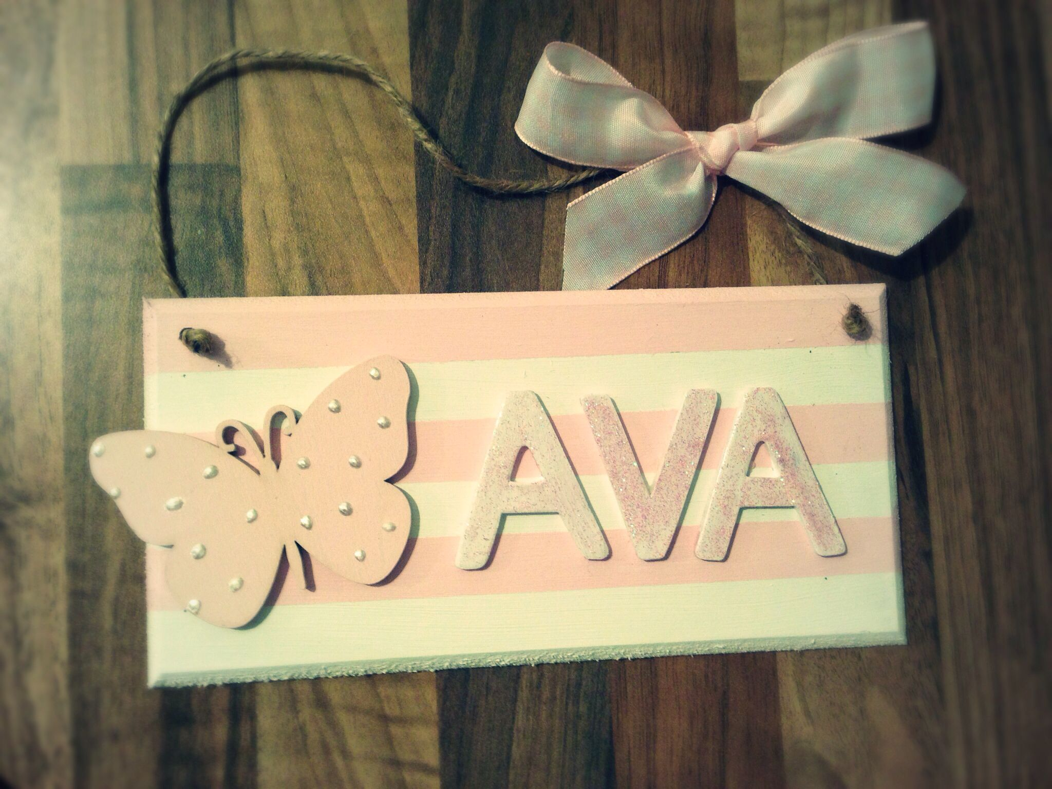 Girly pink name plaque Made by Evie\'s Attic Find us on Facebook ...