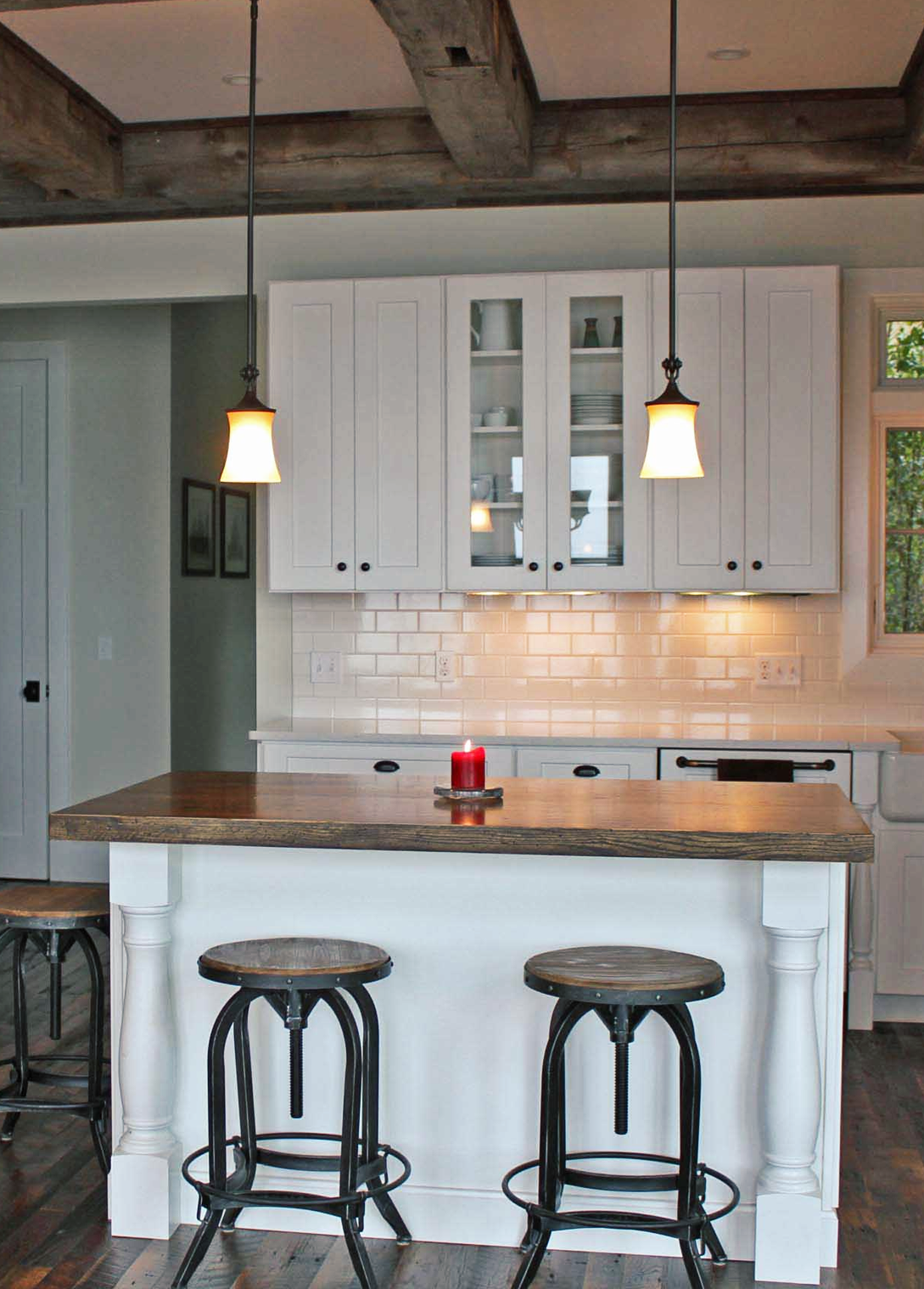 Rustic Farmhouse Kitchen Featuring White Shaker Cabinets Modern