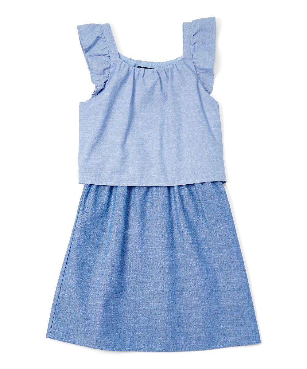 Chambray Two-Tone Dress - Girls