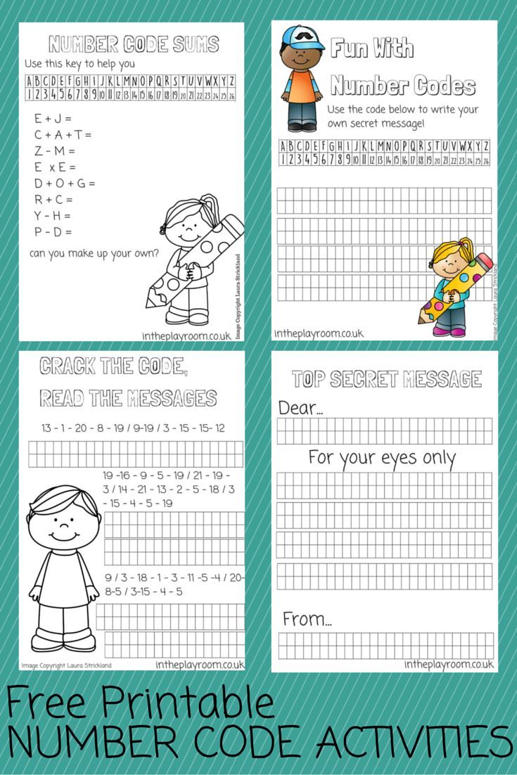 Number Codes Activity With Free Printables Pinterest Number Code