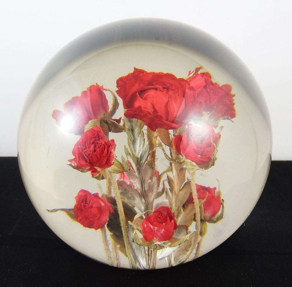 Beautiful Lucite Hippocampus Embedments Red Flowers Paperweight