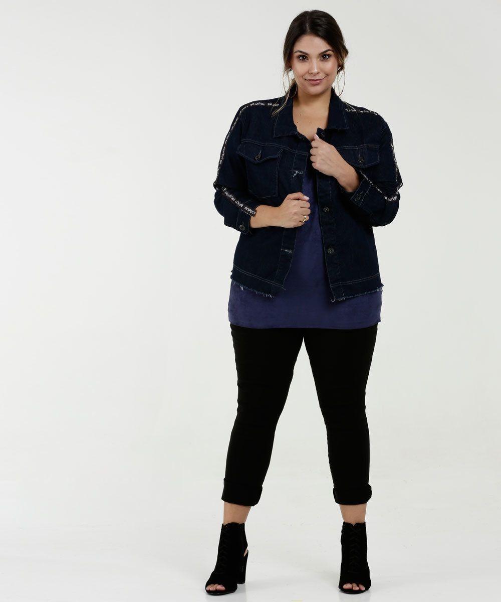 8a8c7ae08e6744 Jaqueta Feminina Jeans Faixa Plus Size Razon in 2019 | I'm wearing ...