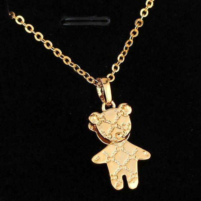45.5cm 18K Gold Plated Lovely Bear Shape Pendant Copper Necklace for Women