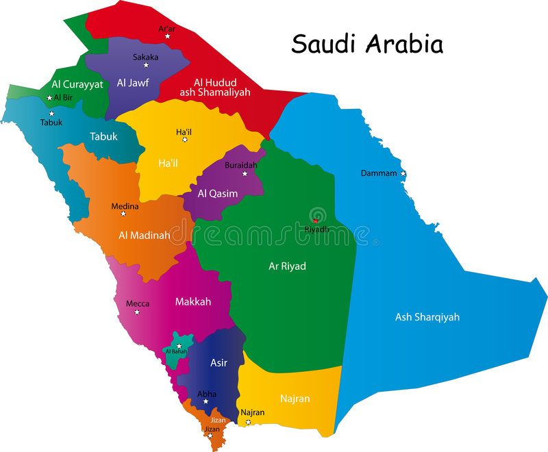 Saudi Arabia Map Designed In Illustration With The Provinces And The Main Citie Aff Map Designed Saudi Arabia Illustration Stock Images Free Map