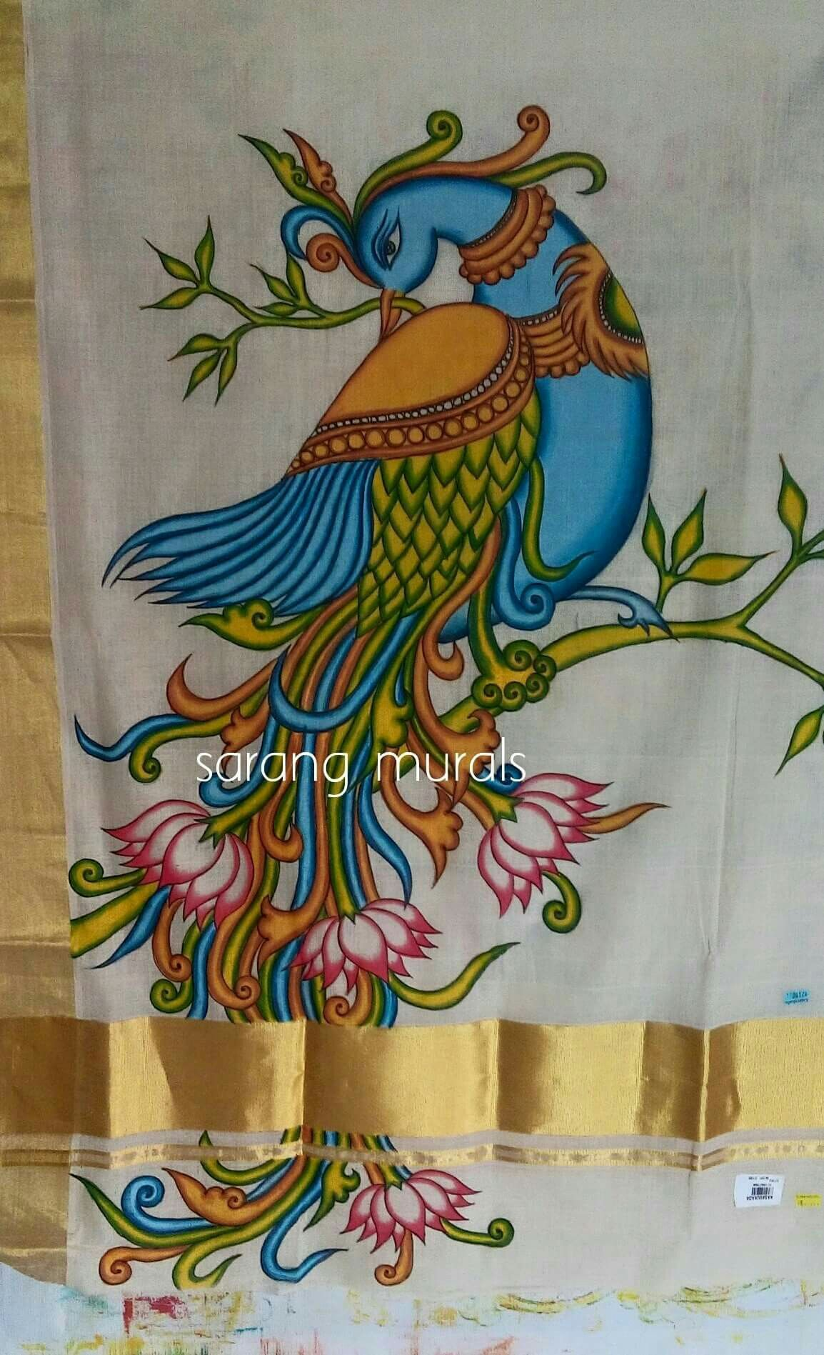 Mural painting on kerala sari kerala mural paintings for Aithihya mural painting fabrics