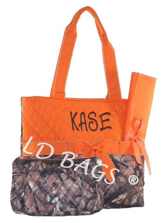 Personalized Infants Orange Camouflage Diaper Bag Baby Quilted Monogrammed Boy Camo Pattern