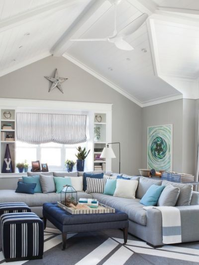 Large Coastal Formal Living Room Decoracion De Interiores