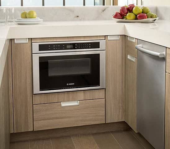 Tiny Kitchen Design With Bosch 27 Microwave Oven Under Counter