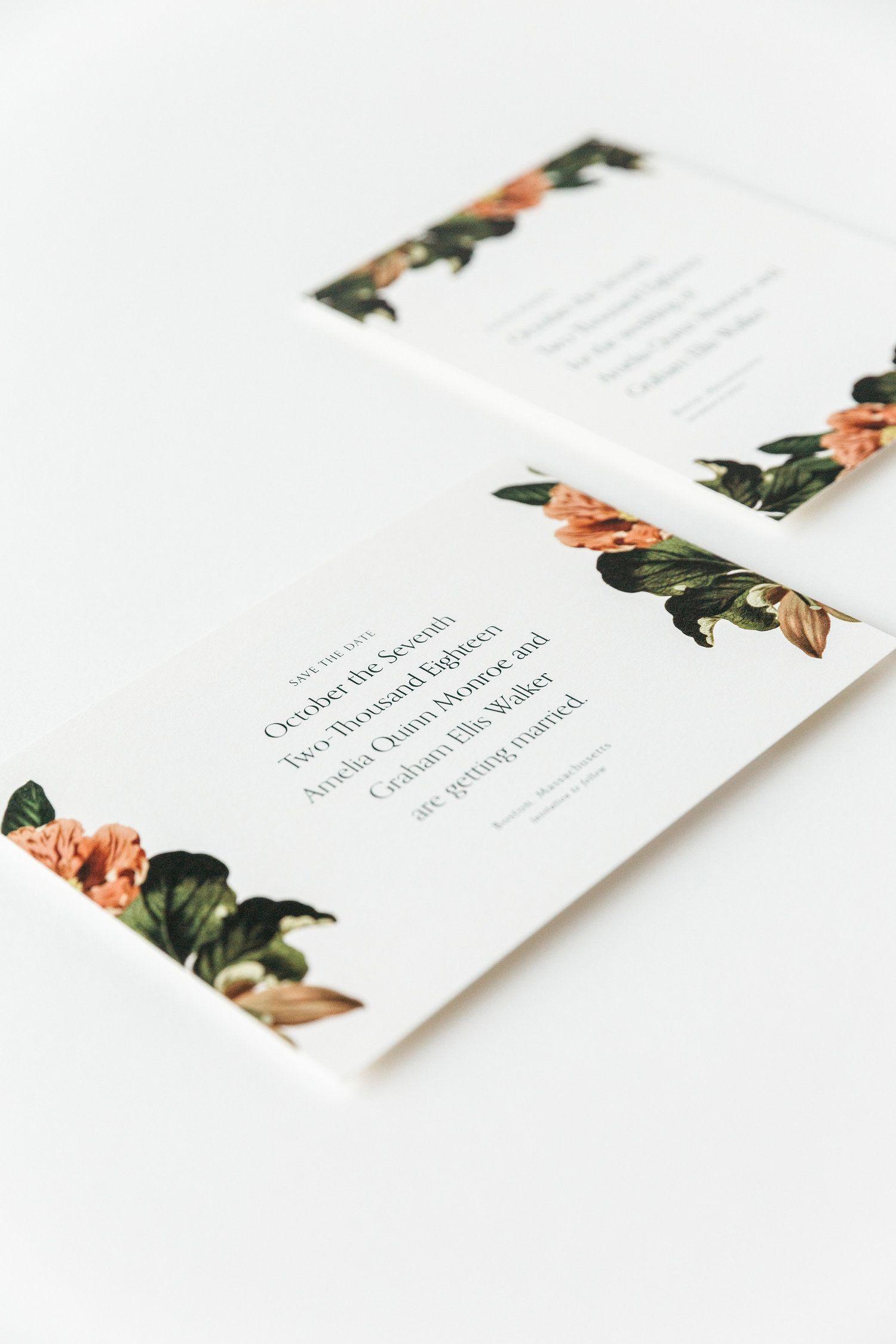 Modern Minimal Botanical Save the Dates Wedding Save The Dates Save The Date Cards