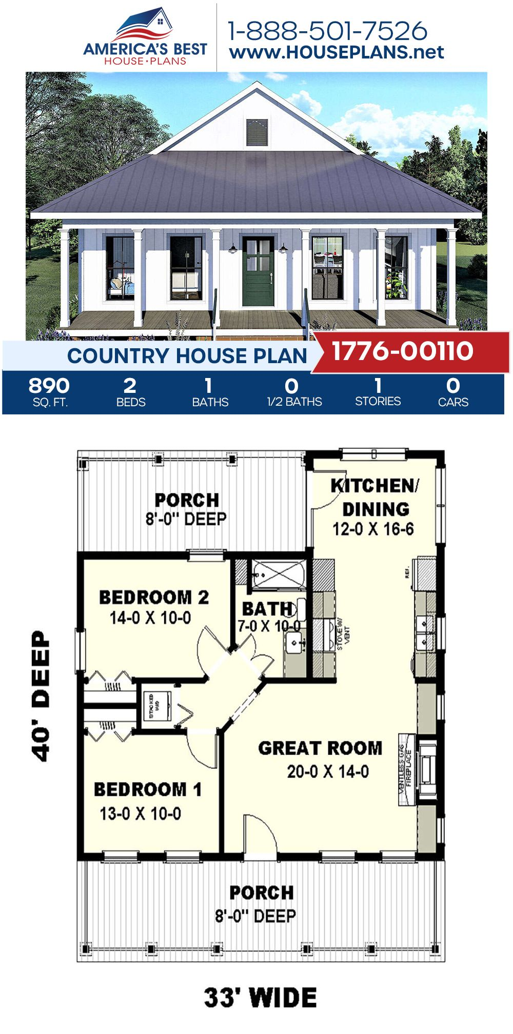 House Plan 1776 00110 Country Plan 890 Square Feet 2 Bedrooms 1 Bathroom Affordable House Plans Guest House Plans Cottage Floor Plans