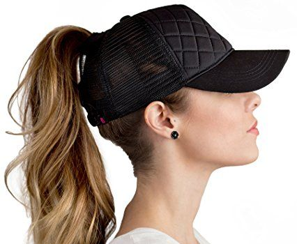 FIMALLY a hat you can wear high ponytails with!! BOEKWEG Women s ponytail  hat. Fashionable hats made for ponytails. (Quilted Black) b4935ec64a4