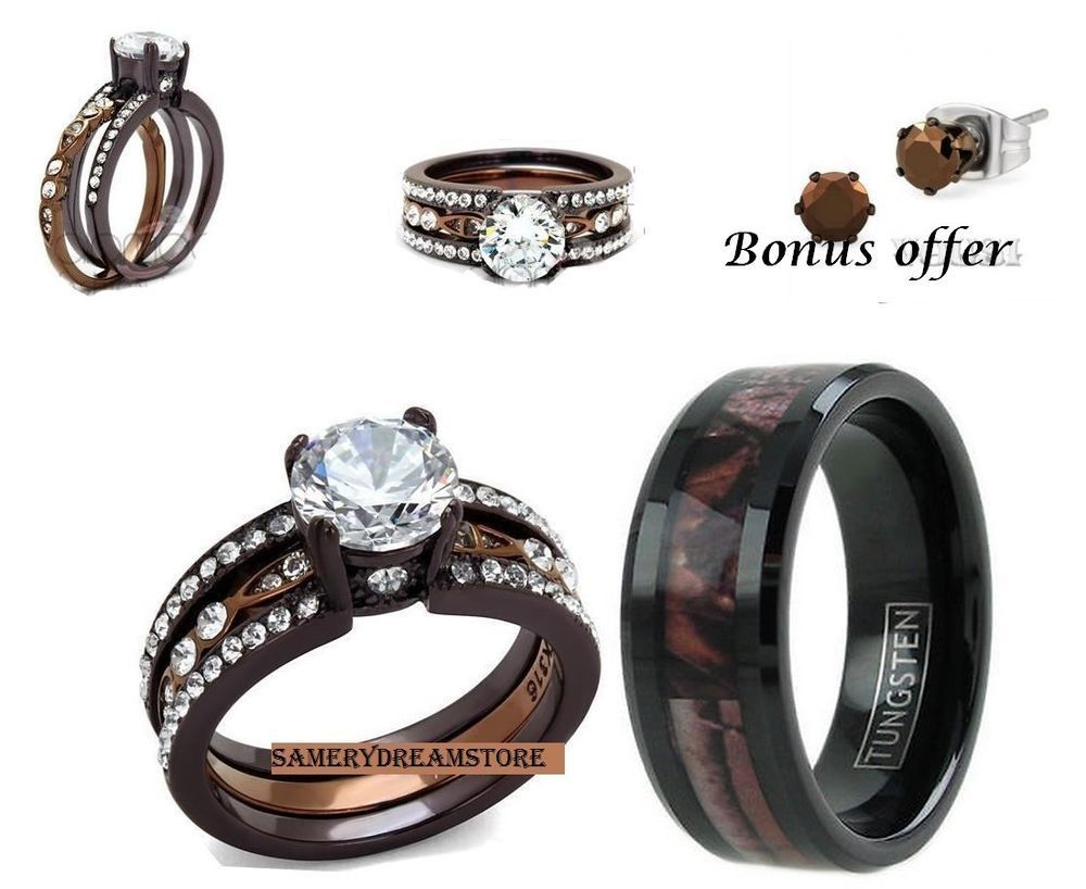 HIS BROWN CAMO AND HER CHOCOLATE CZ STAINLESS STEEL WOMENS WEDDING