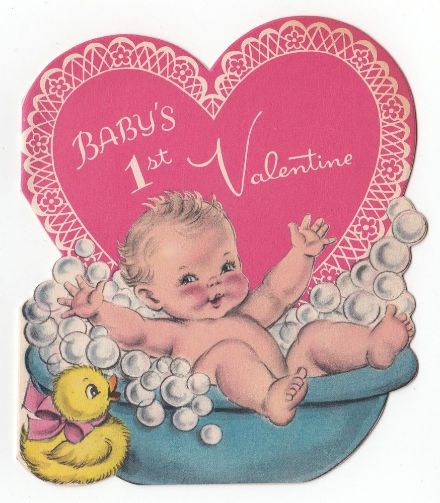 Vintage Greeting Card Baby S 1st Valentine S Day Norcross 1950s Rubber Ducky Vintage Valentine Cards Vintage Holiday Cards Vintage Valentines