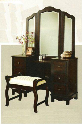 Amazon Com 3 Pc Espresso Finish Wood Large Size Bedroom Make Up Vanity Set With Tri Fold Mirror And Bench Ever Vanity Table Set Vanity Set Bedroom Vanity