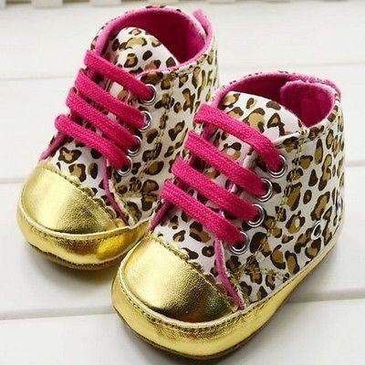 Baby Schuhe Babyschuhe Krabbelschuhe Sneaker Leopard Geschenk Geburt Gold pink