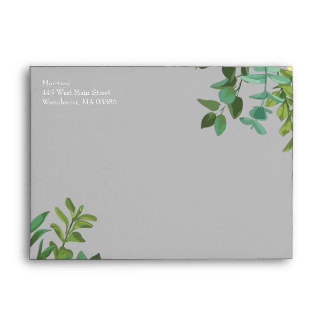 Light Yellow  Grey Peony  Rose Floral Wedding Envelope