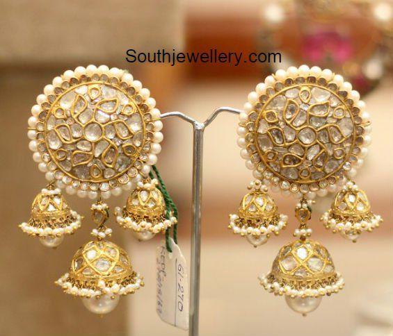 c62c575ebc2e9 Heavy Polki Jhumkas photo   Earrings   Jewelry, Earrings, Gold jewelry