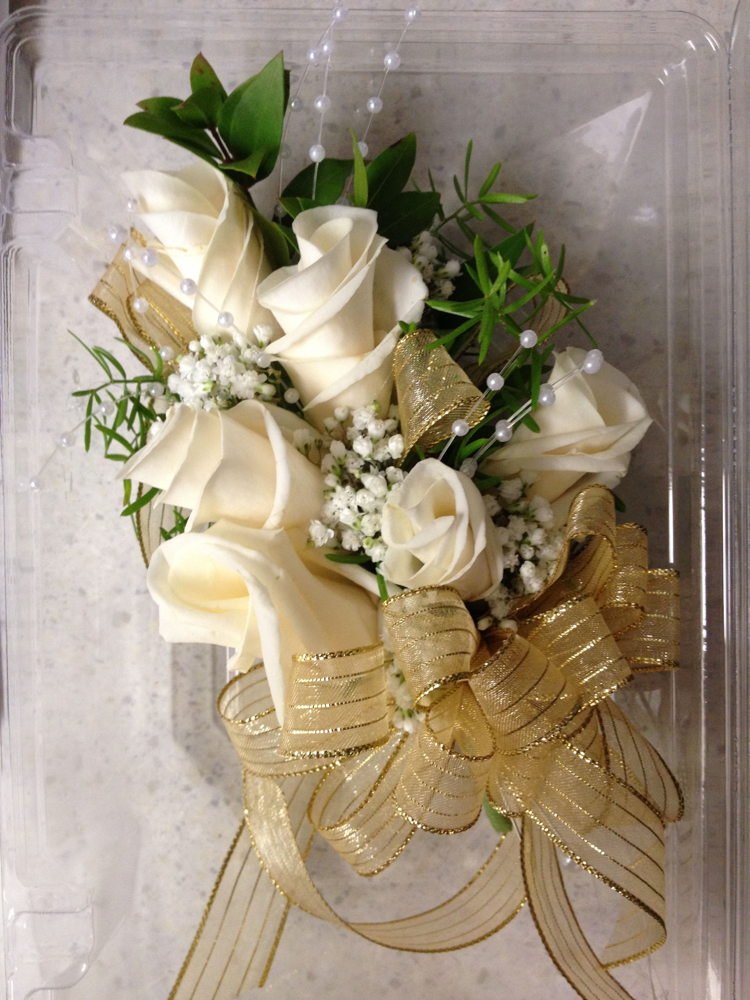 Golden Roses Gold Rose Corsage Mother/'s Day Corsage Sparkly Corsage Prom Flowers Christmas Wedding Metallic Flowers
