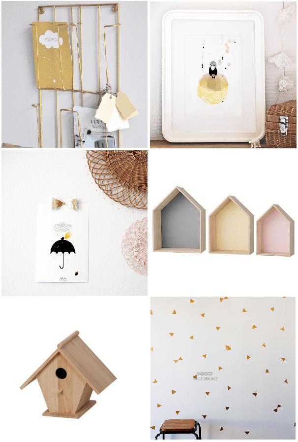 décoration murale pour chambre de bébé poétique, pastel, doré, bois