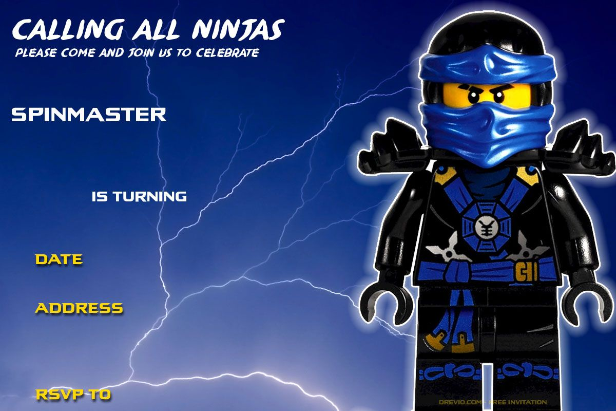 Free Printable Lego Ninjago Birthday Invitation  DREVIO  Ninjago