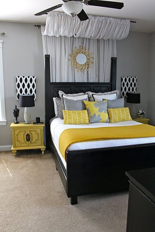 Yellow Gray Black Themed Bedroom With A Sun Mirror And Painted Fan Blades Would Look Amazing Bed Posts Sheer Or Cotton Curtains