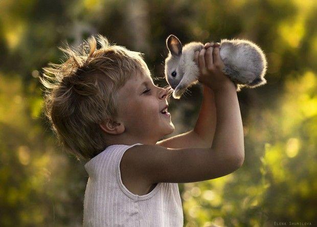Mother takes magic photos of her two children with animals on their farm. (author Elena Shumilova)