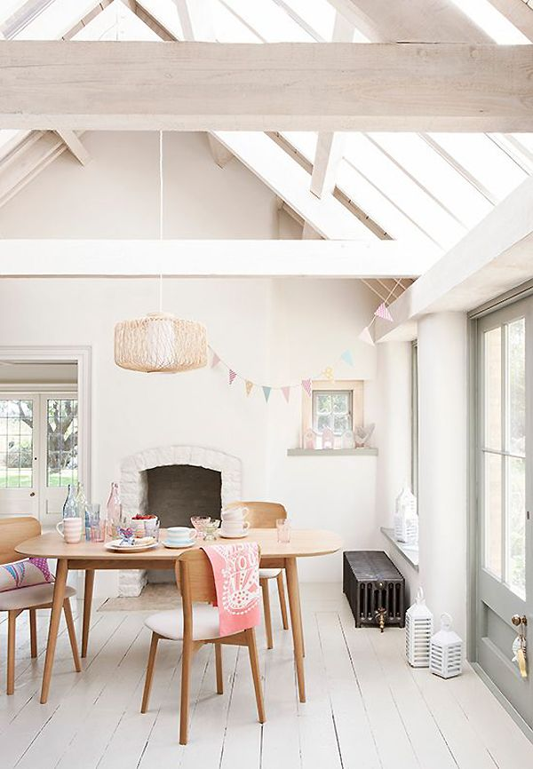 Vaulted ceiling and pops of color against white